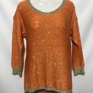 Reba sweater shirt metallic orange size Small